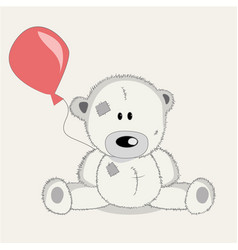 greeting card bear with baloons vector image