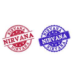 Grunge scratched nirvana stamp seals vector