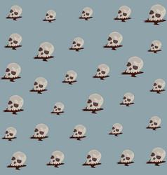 Halloween skulls heads pattern background vector