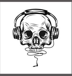 head skull with ear phone vector image