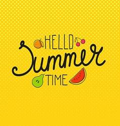 Hello summer time concept vector