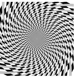 Hypnotic spiral burst element in checkered vector