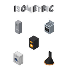 Isometric appliance set of stove laundry kitchen vector