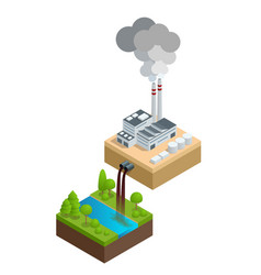 Isometric pollution of the environment concept vector