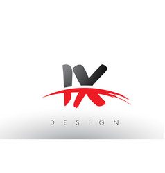 ix i x brush logo letters with red and black vector image