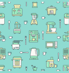 Kitchen utensil small appliances green seamless vector