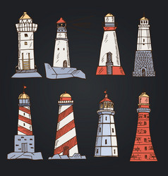 lighthouse hand drawn doodle set isolated vector image