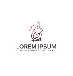 line duck rabbit logo farm logo concept logo vector image