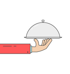 linear hand holding silver dish vector image