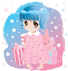 Little cute girl with big eyes vector