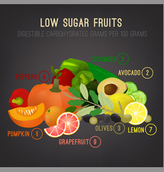 Low sugar fruits vector