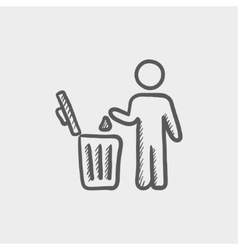 Man throwing garbage in a bin sketch icon vector image