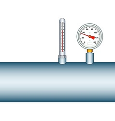 Manometer and thermometer on pipe vector