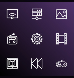 Media outline icons set collection of film gear vector