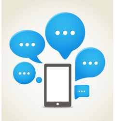 Modern mobile phone with group of speech clouds vector