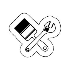 Monochrome sticker with paint brush and wrench vector