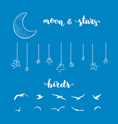 moon stars and birds vector image