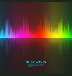 Music waves background rainbow sound music vector
