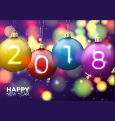new year poster template bright balls 2018 vector image