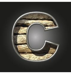 Old stone letter c vector