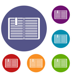open book with a bookmark icons set vector image