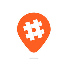 Orange pin with hashtag icon vector