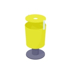 Outdoor yellow bin icon cartoon style vector image