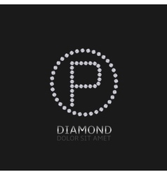 P letter with diamonds vector image