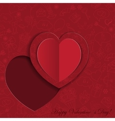 Paper heart card on ornate background vector