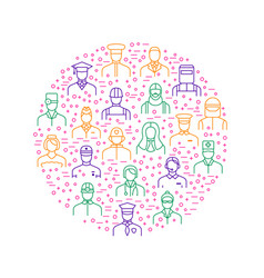 People avatars characters staff round design vector