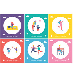 People in park resting and have fun cartoon banner vector