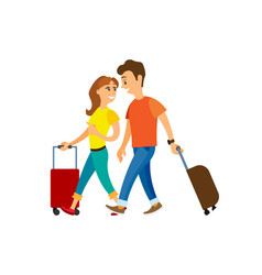 people traveling man woman with luggage walking vector image