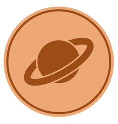 Planet saturn bronze coin vector