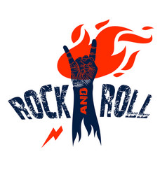 rock hand sign on fire hot music rock and roll vector image