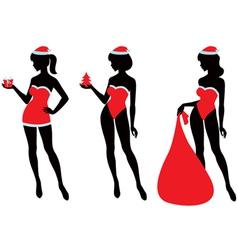 Santa girl silhouette vector