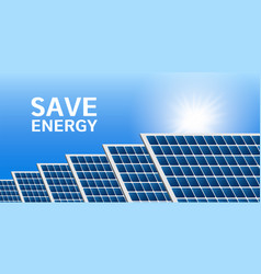 save energy solar panel concept background vector image