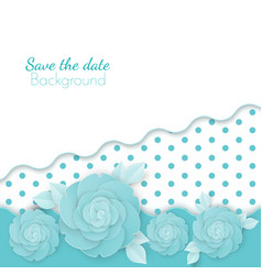 Save the date flowers background with dots paper vector
