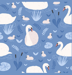 seamless pattern with white swans and brood of vector image