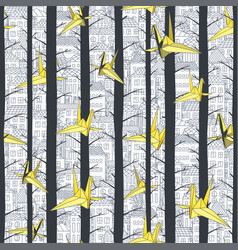 seamless yellow origami paper birds vector image