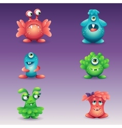 Set of colored cartoon monsters different vector