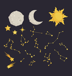 set stars and constellations starry sky vector image