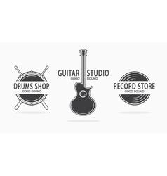Set vintage musical instrument logos vector