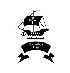 Ship and ribbon columbus day icon simple style vector