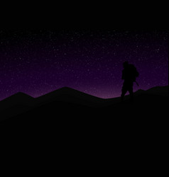 silhouette mountaineer in front violet vector image