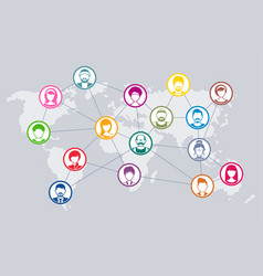 Social network diagram world map concept vector