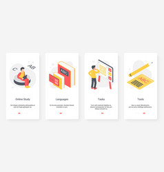 Studying foreign language education ux ui vector
