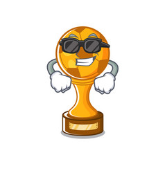 Super cool soccer trophy with mascot shape vector