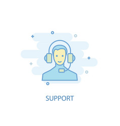 support line concept simple line icon colored vector image