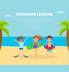 Swimming lessons banner template with cute kids on vector