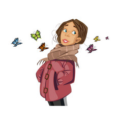 teenage girl cartoon character and butterflies vector image